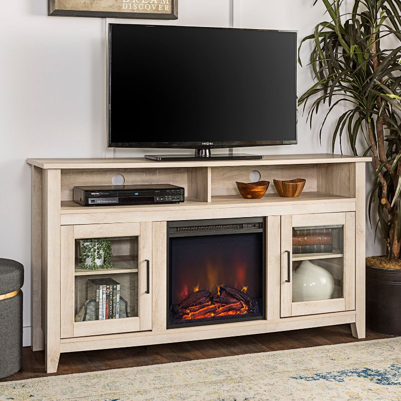 White Oak 58 Inch Highboy Fireplace Tv Stand Fireplace Tv Stand