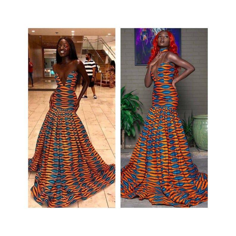 Floor length African dress,African wedding dresses for women,Ankara mermaid dress,African print dress,homecoming dress,African prom dress
