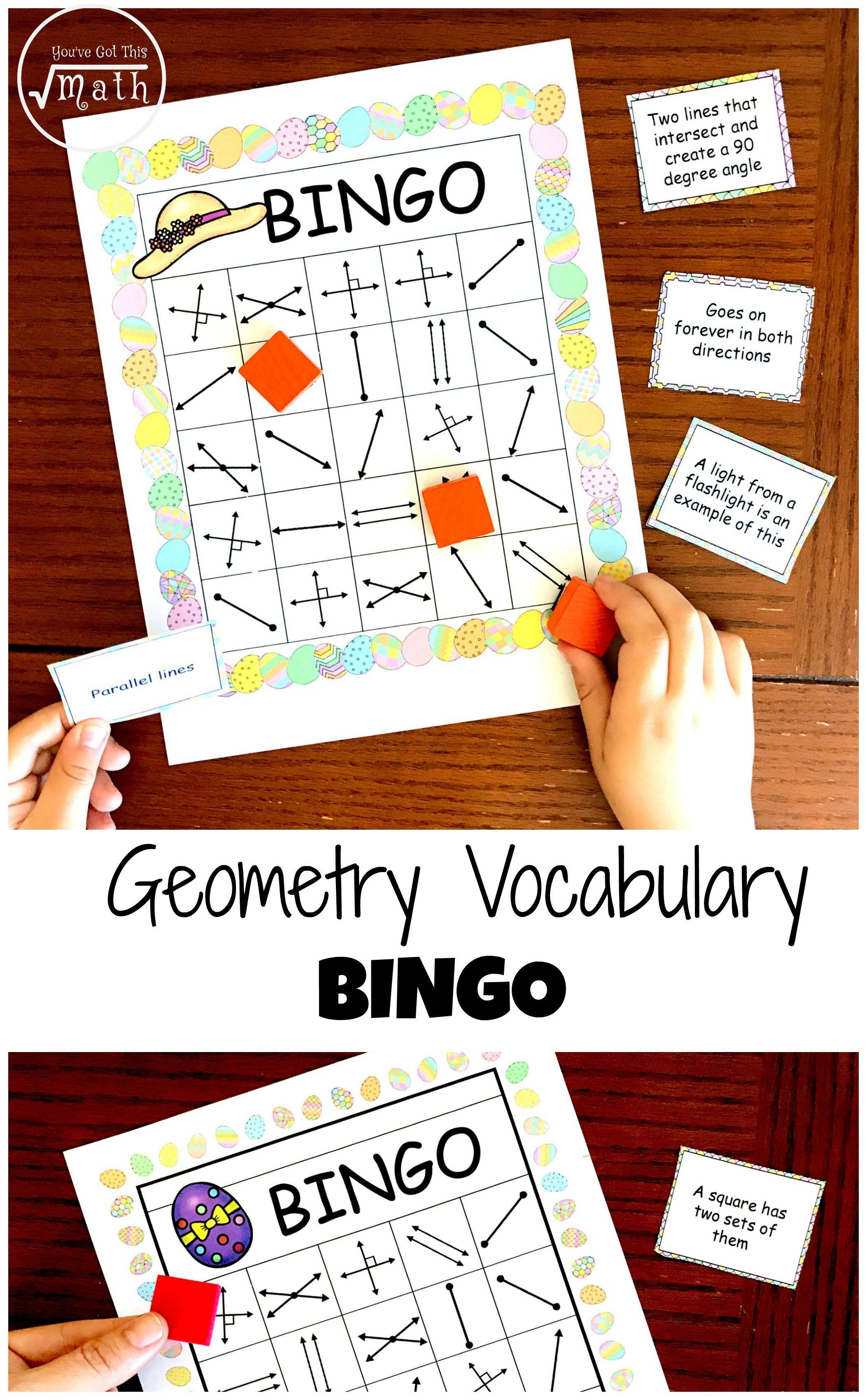 Get A Free Geometry Bingo To Work On Lines Rays Parallel