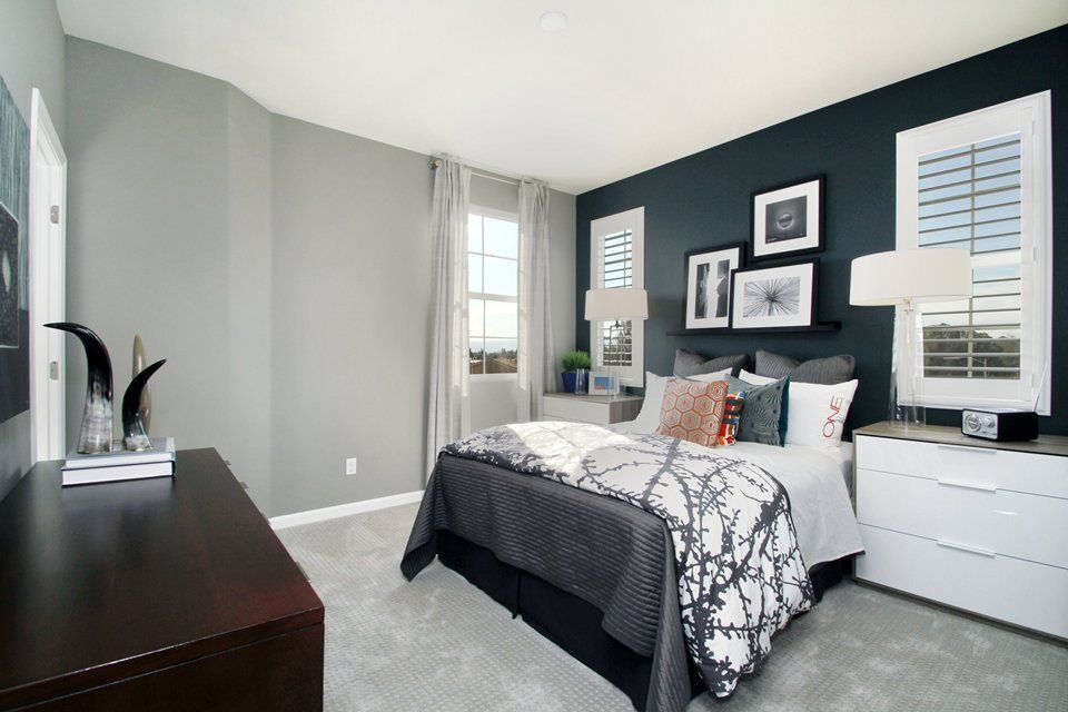 lovely gray accent wall bedroom | Love the shutters great idea for windows with the dark ...