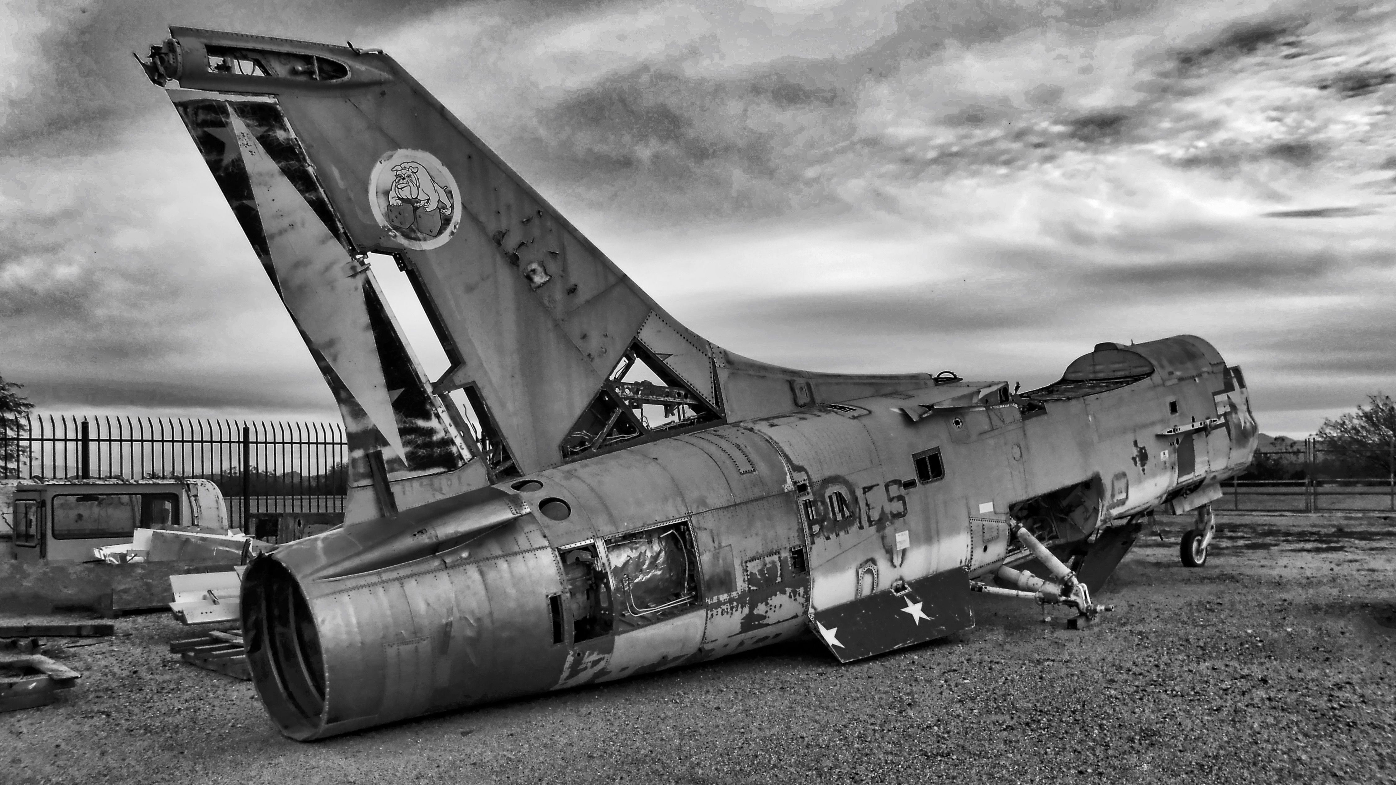 Marine F8 Crusader sitting by the side of the road in