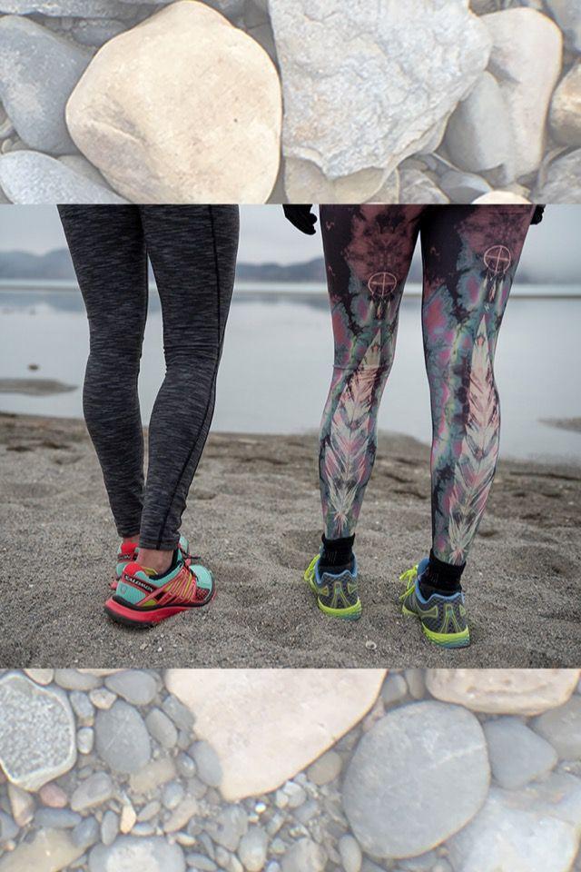 L: @lucyactivewear Hatha Legging R: The Teeki Eagle Feather Pant in Pink