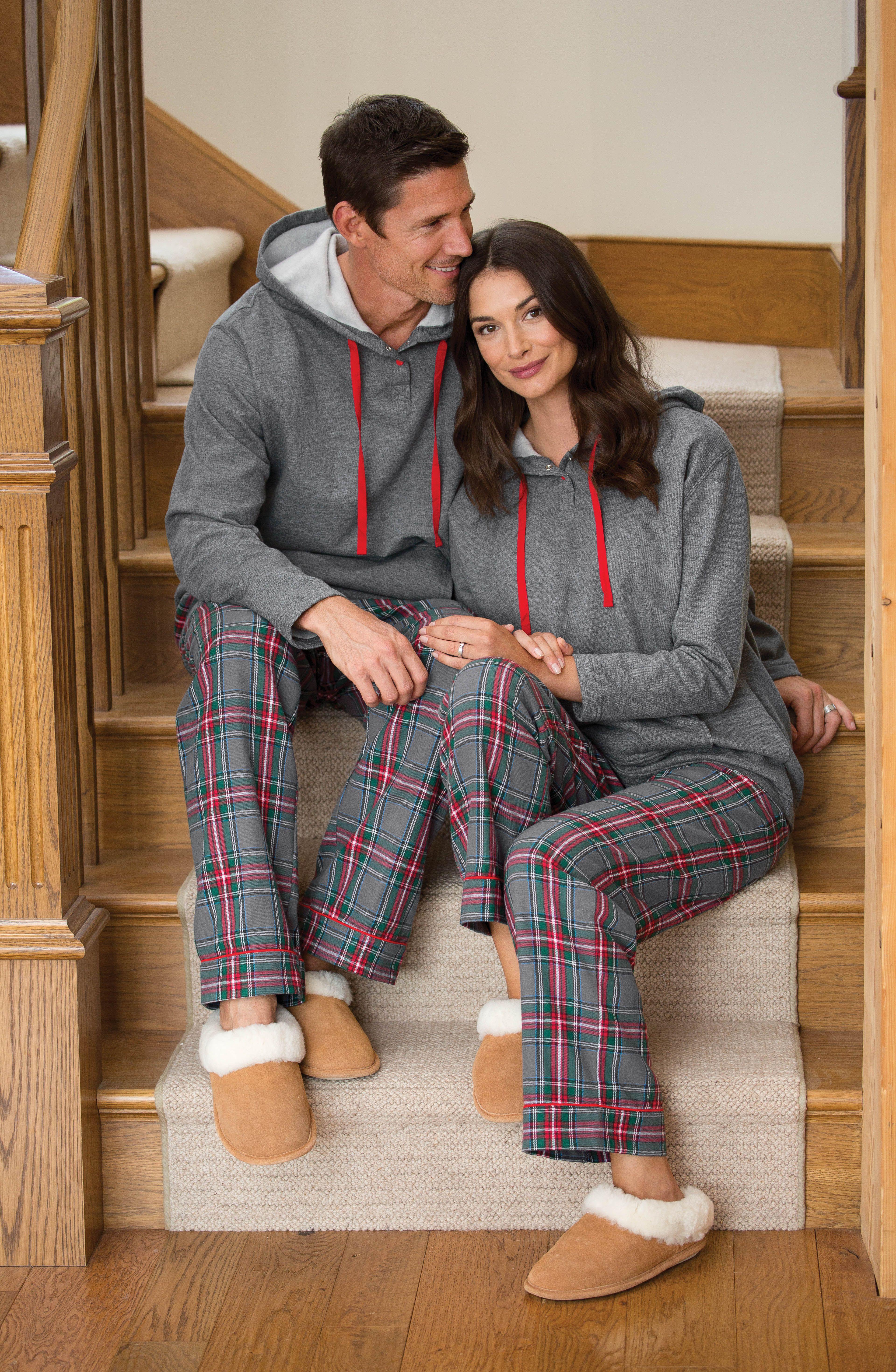 Gray Plaid Hooded His & Hers Matching Pajamas Matching
