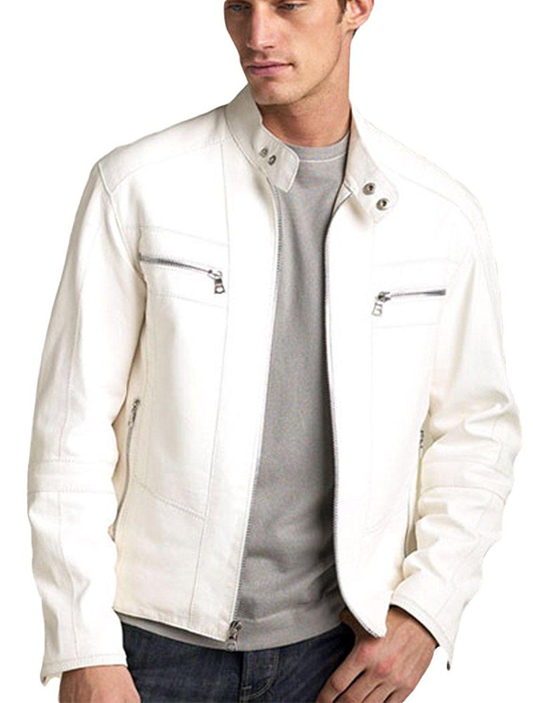 Leather Jackets Men Amazon Best Seller Lambskin Leather Motorcycle Biker Jacket Kl786 White Leather Jacket Men Jackets Men Fashion White Leather Jacket