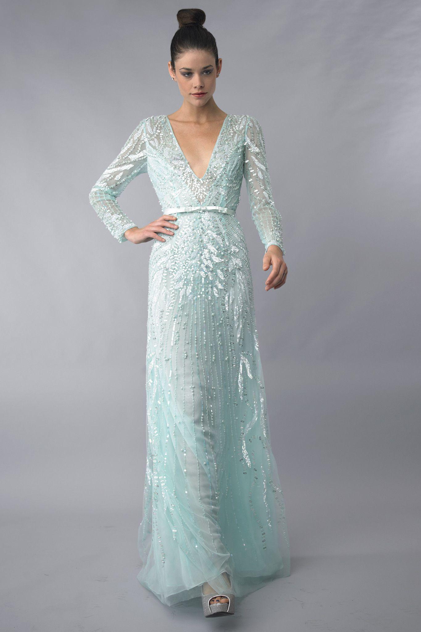 Mint v neck evening dress by basix black label long dresses i love