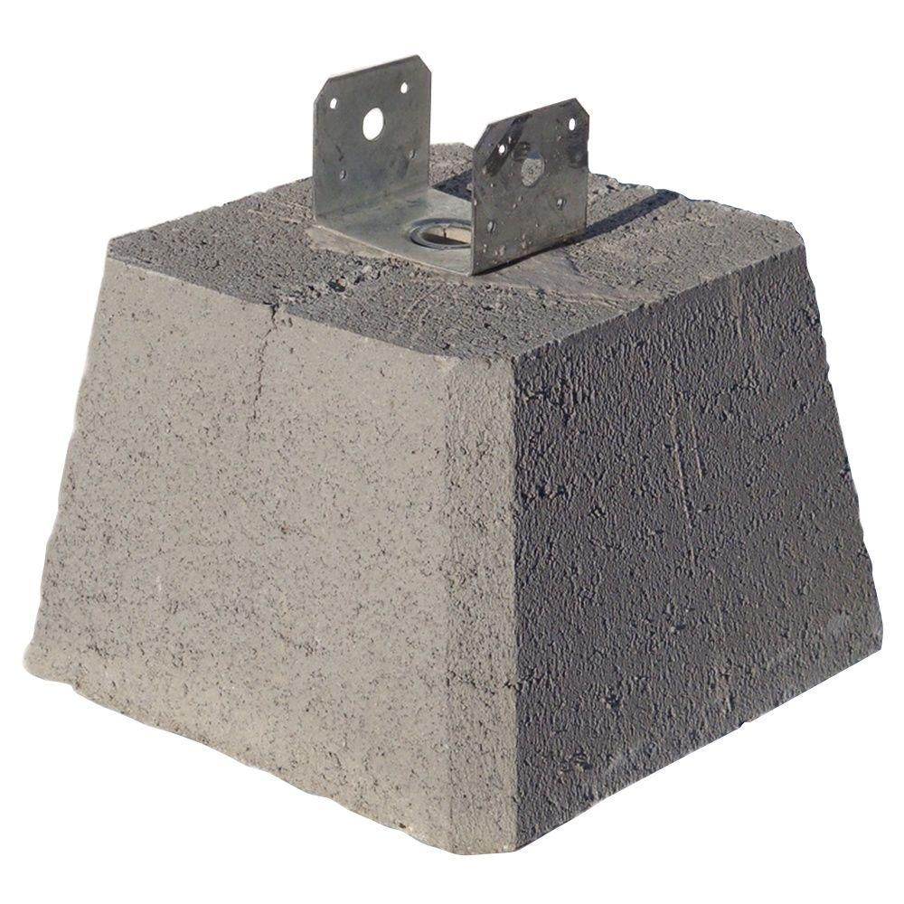 Concrete Pier Block With Metal Bracket 8053112 The Home Depot Pier Blocks Concrete Deck Blocks Pier And Beam Foundation