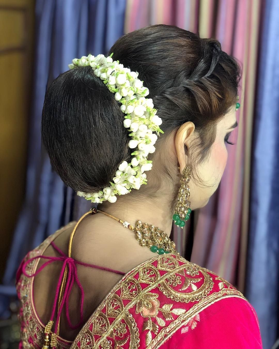 Rocking The Low Bun With The Most Traditional Of Them All Gajra Hair Makeove Bridal Hair Buns Bridal Hairstyle Indian Wedding Pakistani Wedding Hairstyles