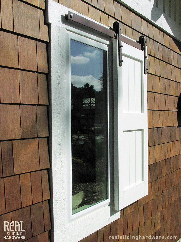 Real Sliding Doorware Used For Shutter Needs Rails Along The Bottom Too So It Doesn T Get Caught In The Shutters Exterior Exterior Barn Doors House Shutters