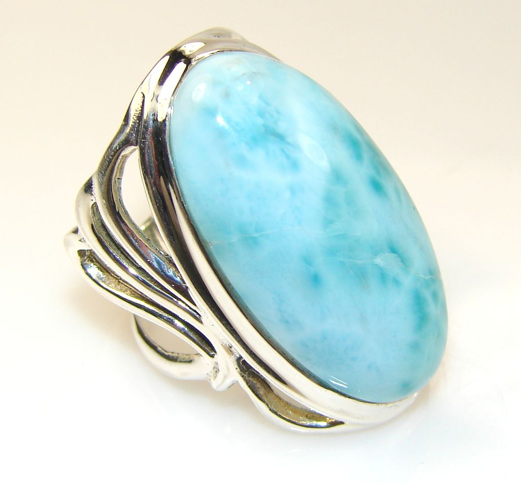 $97.25 Giant!!! Luxury Blue Larimar Sterling Silver Ring s. 7 at www.SilverRushStyle.com #ring #handmade #jewelry #silver #larimar