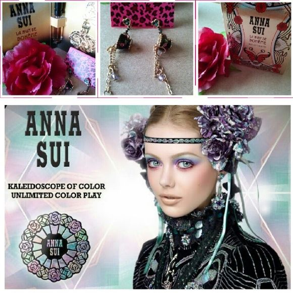 Anna Sui for BJ Earrings These earrings are designed by Anna Sui for the Betsey Johnson Jewelry Collection. If you know Anna Sui you will know her for her bold bohemian colors, gorgeous jewelry and out of this world fashion shows. You will also receive this perfume sample by Anna Sui. Betsey Johnson Jewelry Earrings