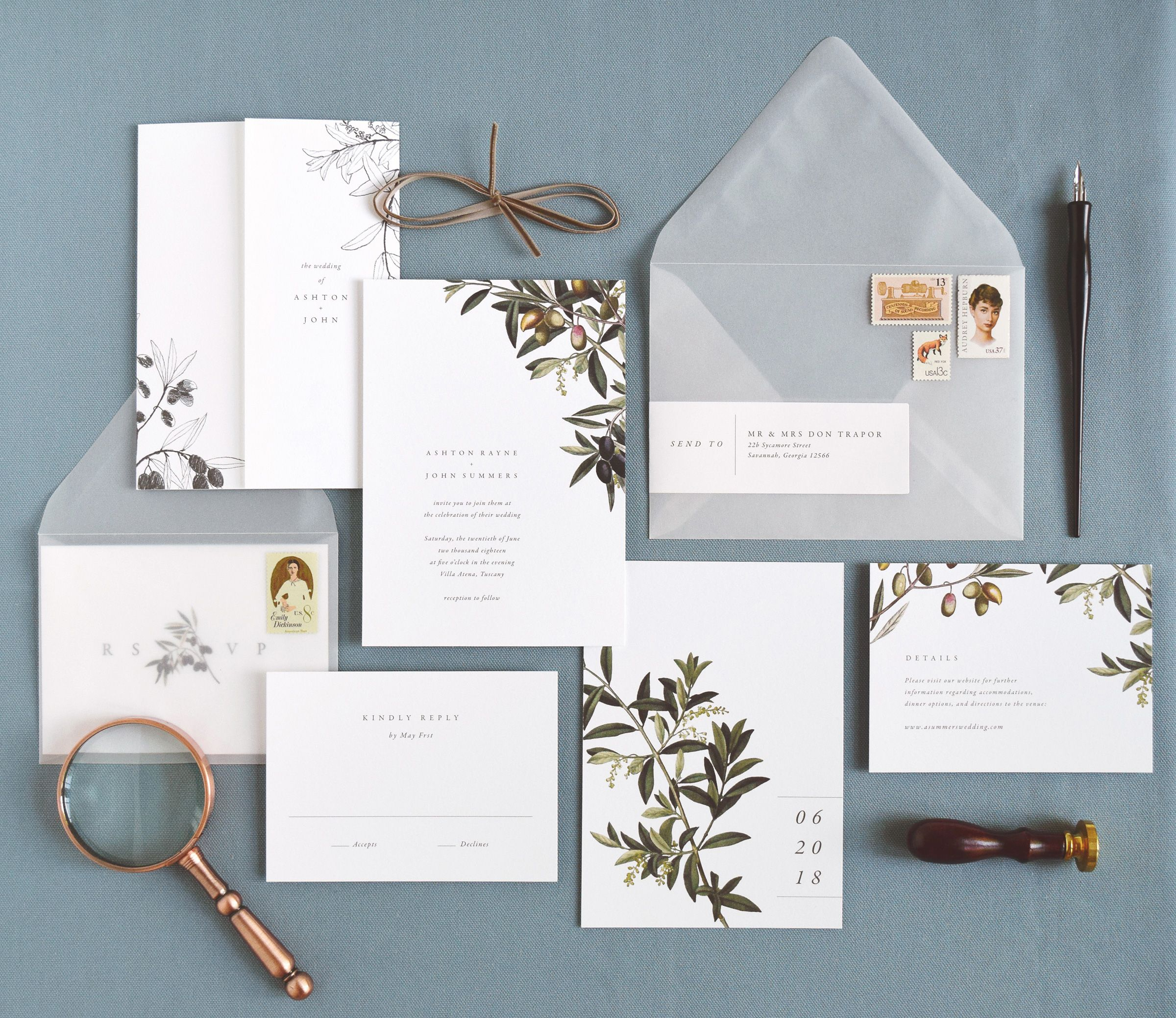www.rachelmarvincreative.com | Oliva wedding invitations by Rachel ...