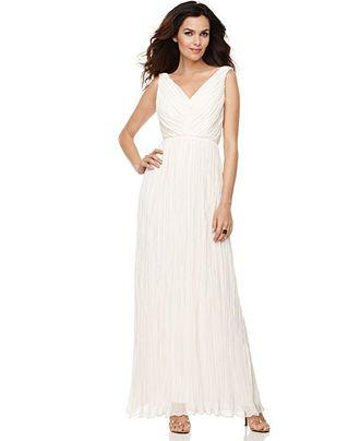 Suzi Chin Dress, Sleeveless Pleated Seamed V-Neck Evening Gown - $179