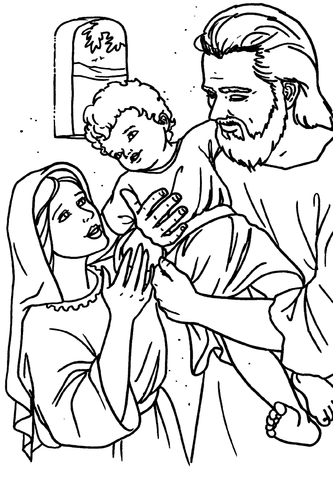 Holy Family At Nazareth Catholic Coloring Page