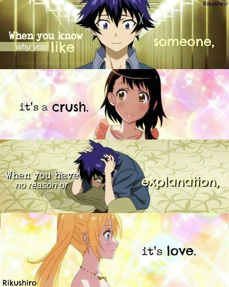 Nisekoi Anime quotes, Anime love quotes, Nisekoi