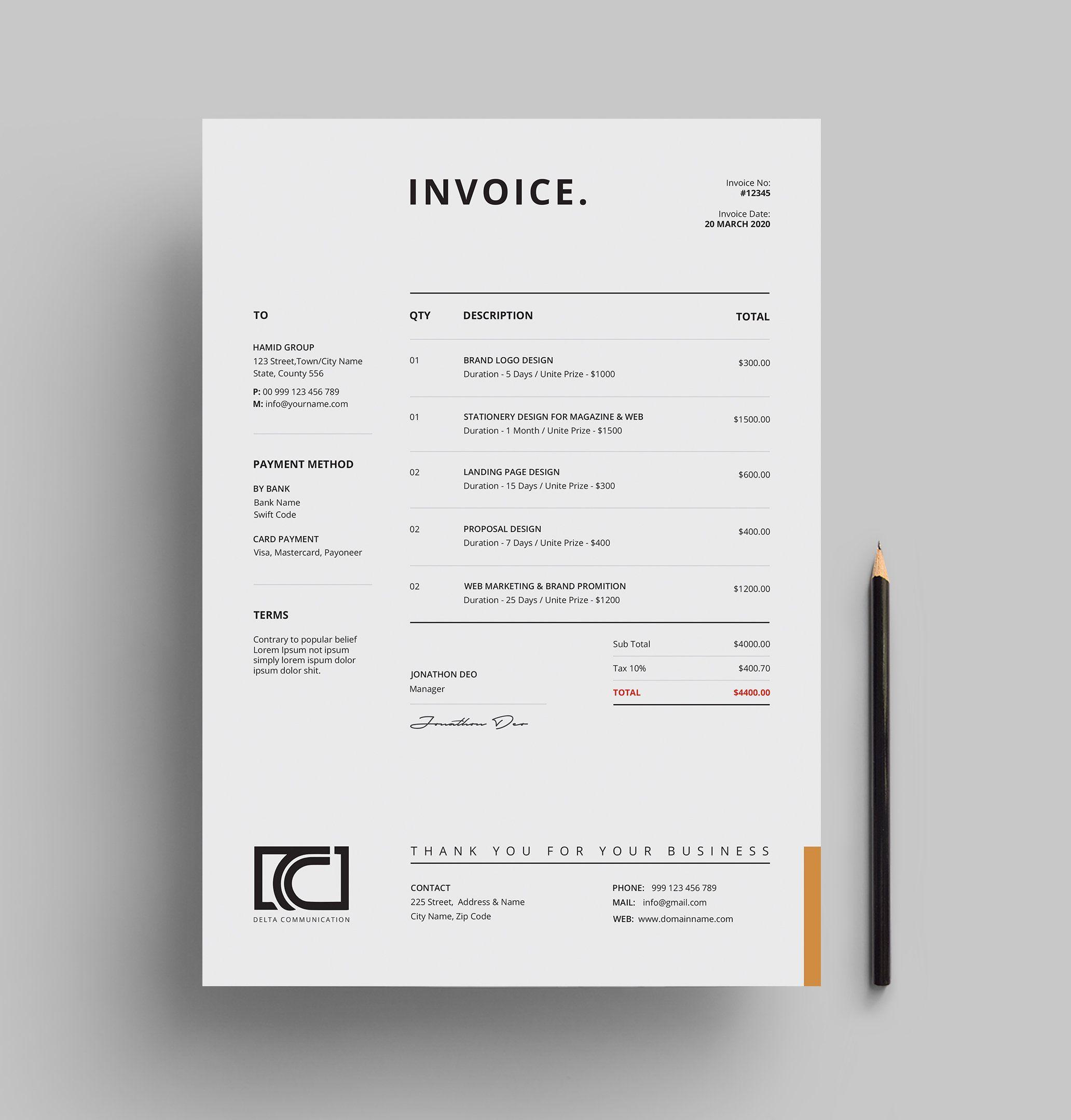 Invoice With Images Invoice Design Invoice Design Template