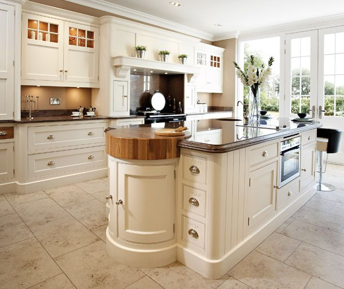 Luxury handcrafted kitchen island with integrated butchers for Coloured kitchen units uk