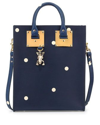 Spotted Mini Tote Bag, Navy/Cream by Sophie Hulme at Neiman Marcus.