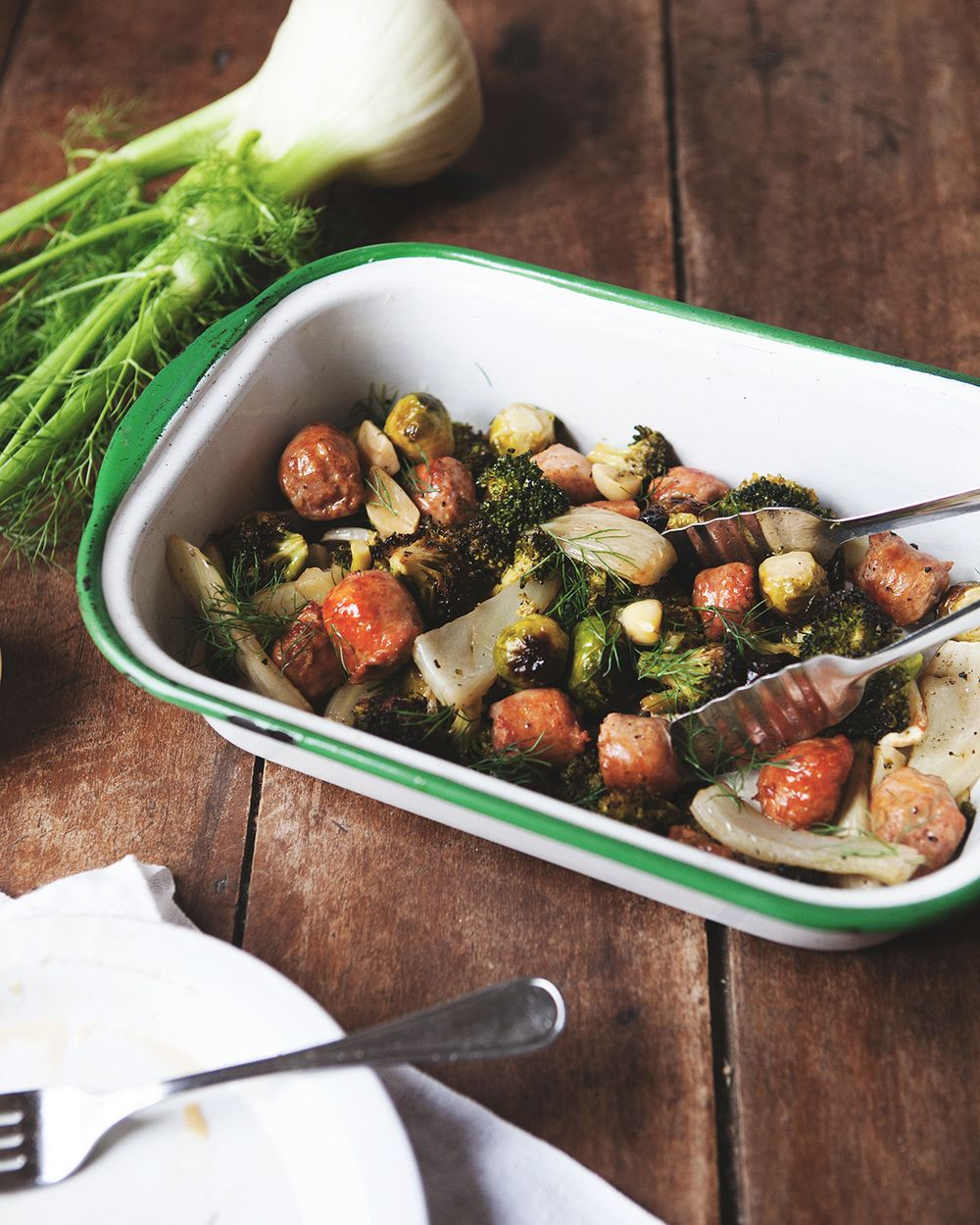 Simple Roasted Fennel and Sausage with Brussels Sprouts and Broccoli — a Better Happier St. Sebastian