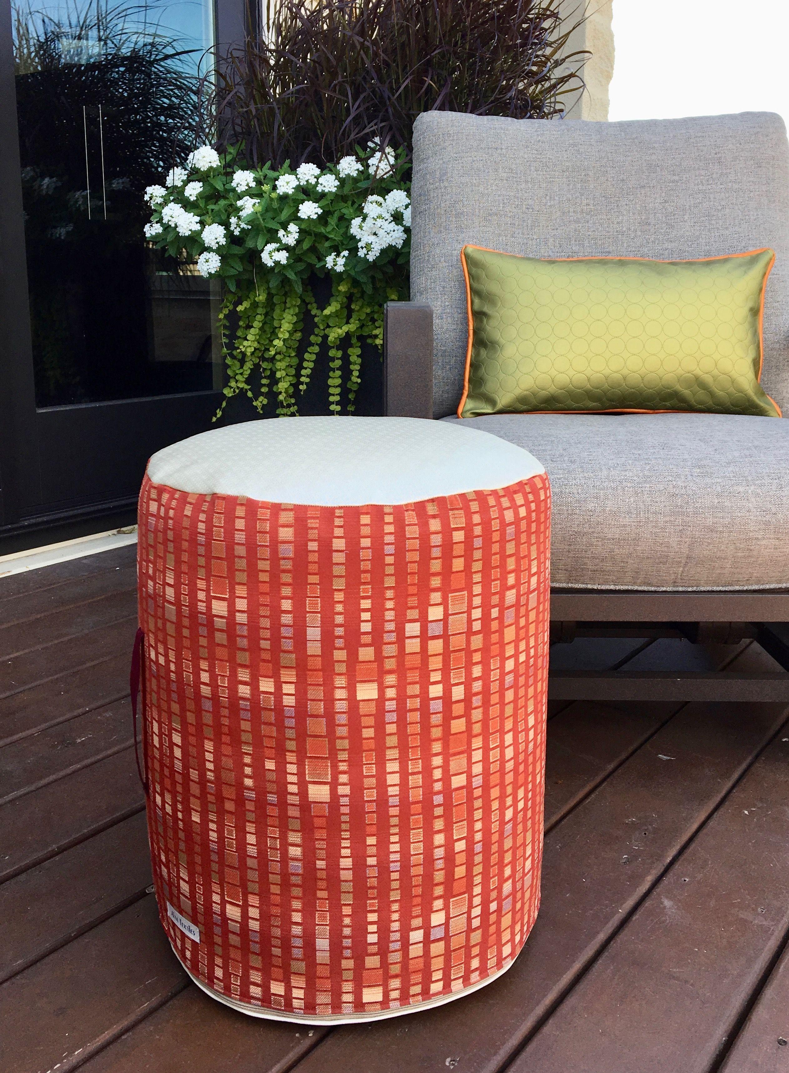 Strange An Outdoor Pouf Ottoman The Side Is A Bright Orange Outdoor Uwap Interior Chair Design Uwaporg