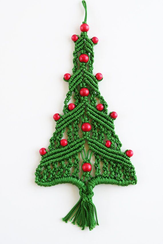 Vintage Macrame Christmas Tree Wall Hanging By