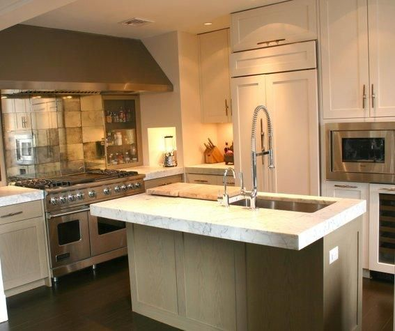 White Oak Kitchen Countertops: Stained Oak Cabinets, Thick Granite Countertops And