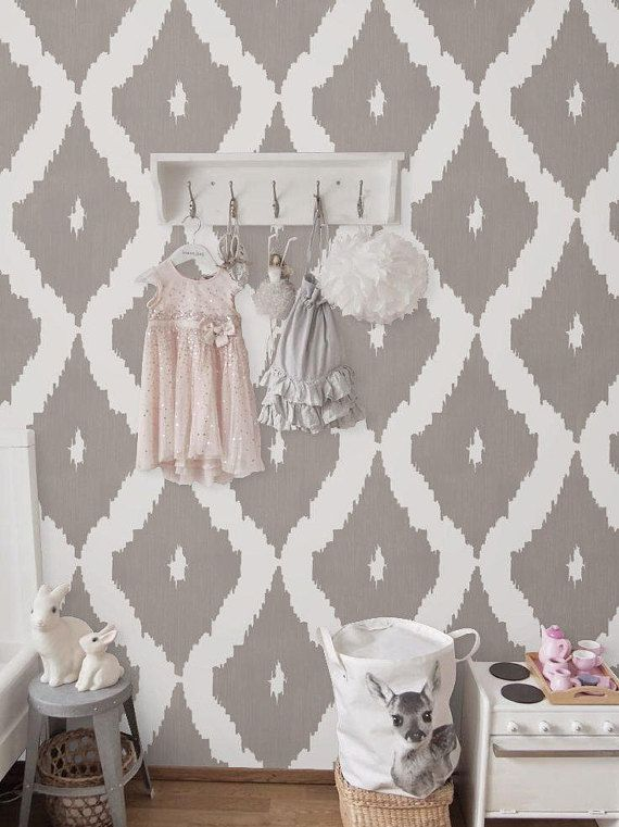 Removable Self Adhesive Vinyl Wallpaper Wall Decal Ikat Pattern 041 Snow Gravel