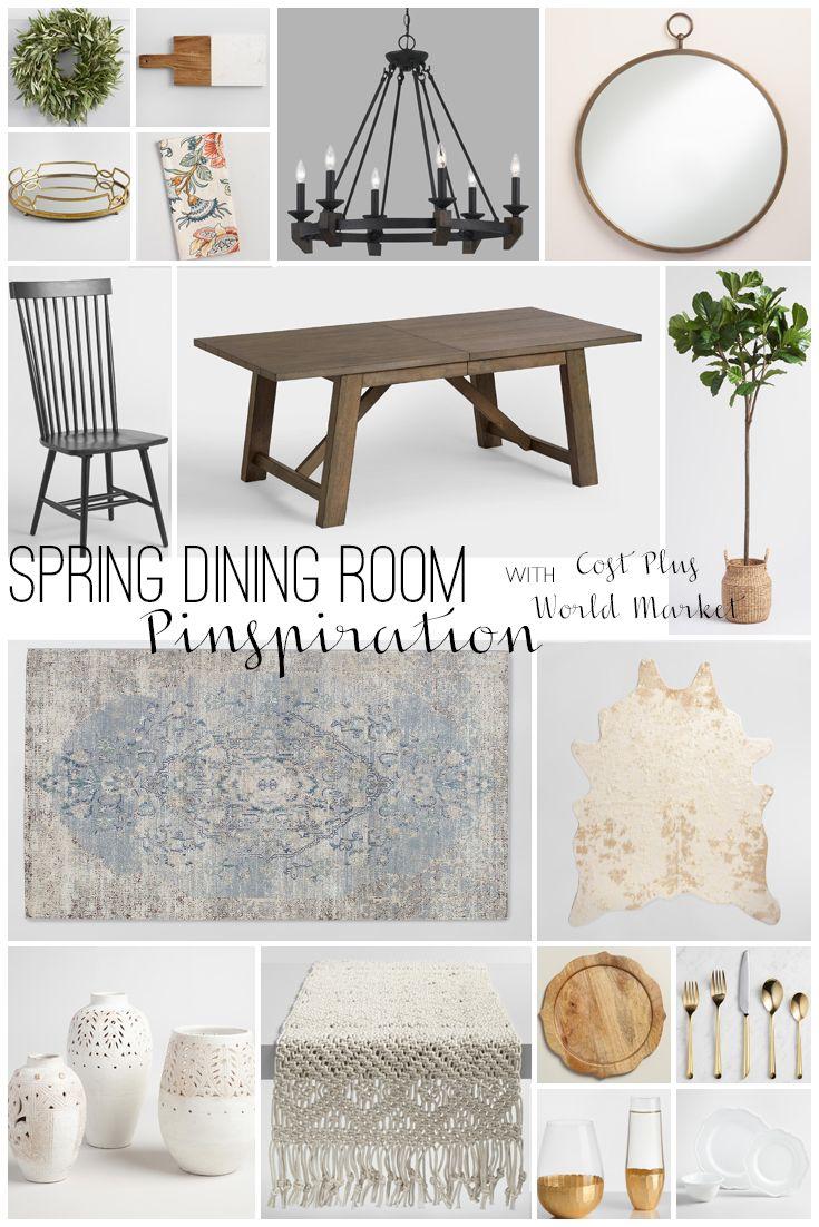 Modern Farmhouse Spring Dining Room Makeover via Belle Amour for Cost Plus World Market www.worldmarket.com