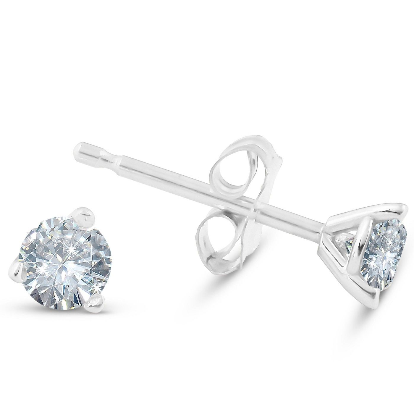 Pompeii3 1 4 Ct Tdw Round Lab Created Diamond Studs In Platinum 14k White Or Yellow Gold Affiliate Diamond Studs Grown Diamond Diamond Earrings Studs Round