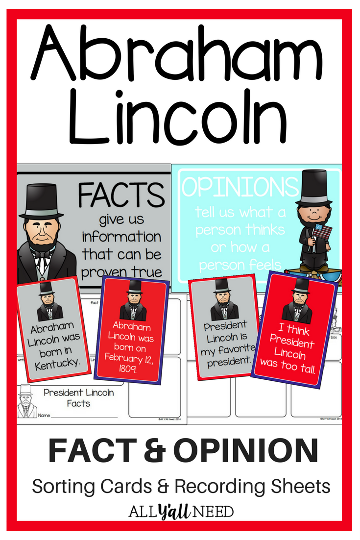 Abraham Lincoln: Fact and Opinion | ALL Y\'all Need TpT Products ...