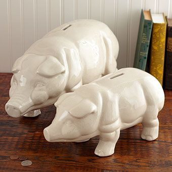 Wilbur Piggy Banks - Back by Popular Demand! Designed after Jim's antique piggy bank, these hand painted pigs just might help you save your pennies!