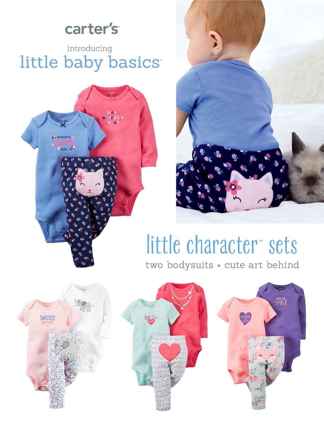 9e0cbd0d66 Shopping for your newborn girl? These little baby basics from Carter's are  durable enough to keep up with all her explorations. The sets make it easy  to mix ...