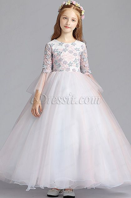 78acc27f25db Tulle Floral Long Wedding Flower Girl Dress (27196001) | eDressit ...
