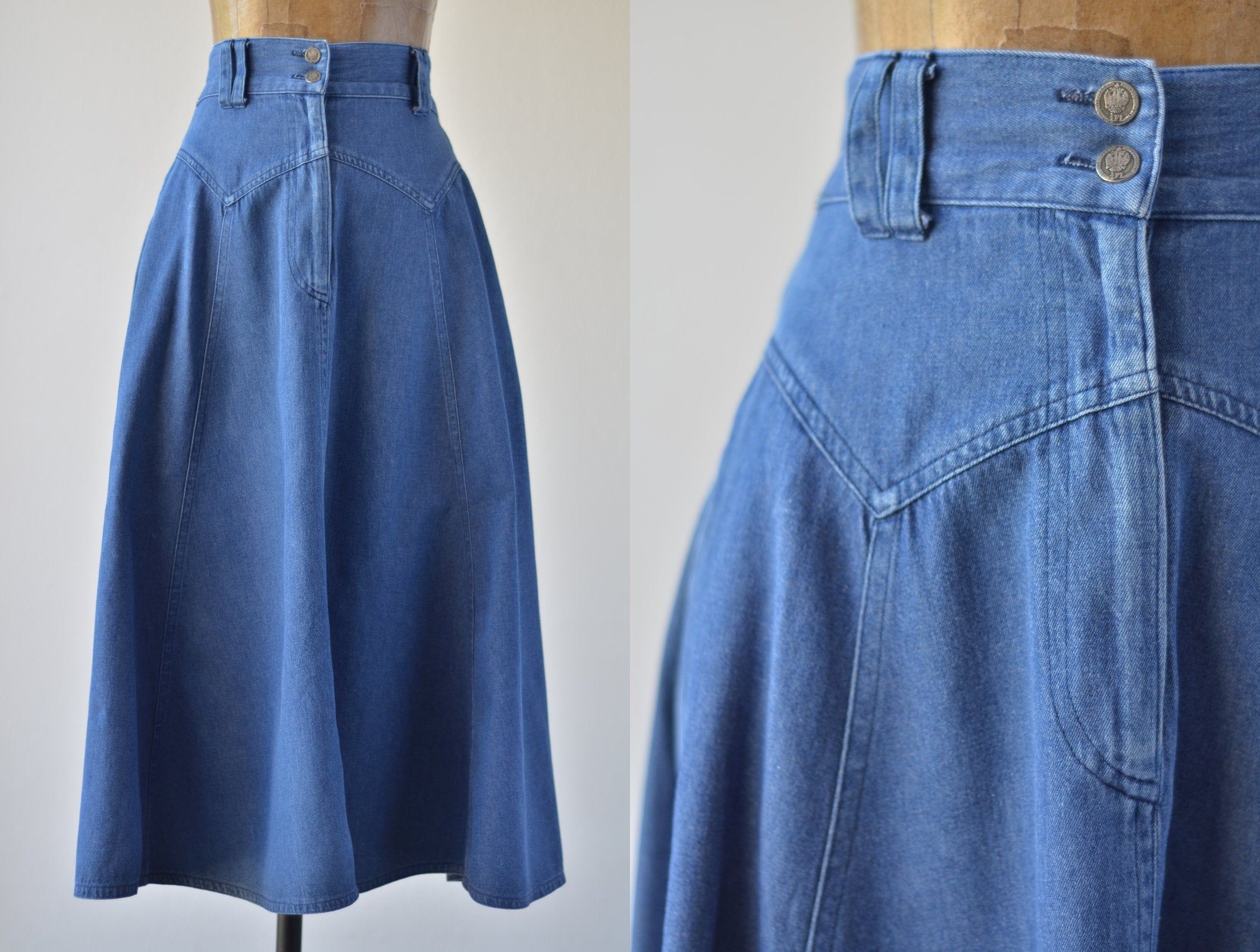 DENIM PENCIL SKIRT Vintage Medium Blue Jean High Waist Midi Cotton Woman 90/'s  27 Waist  36 Hips  Size 5