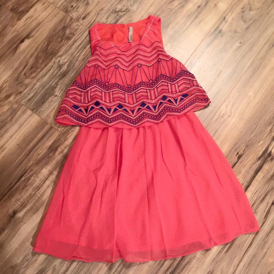 Cute aztec coral dress! Perfect with sandals or boots!
