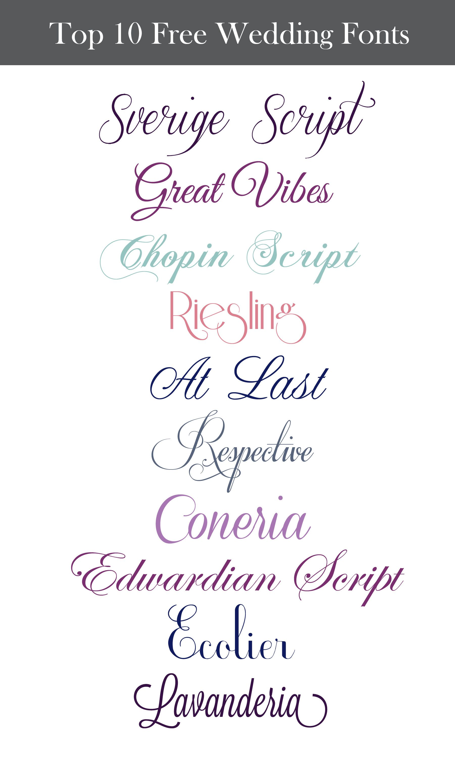 Inspiration Wednesday Free Wedding Fonts