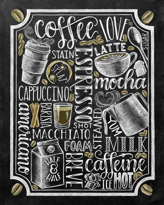 Coffee Sign Kitchen Art Coffee Bar Chalkboard Art By TheWhiteLime