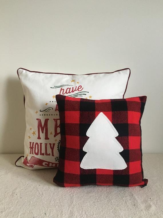 White Red Plaid Pillow Christmas Pillow