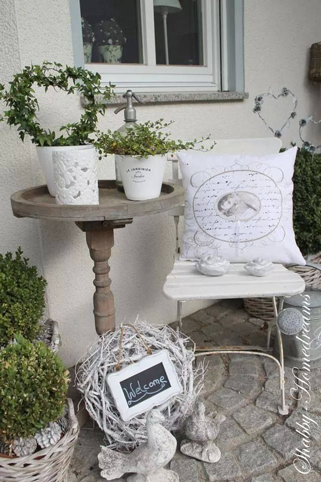 white shabby chic white shabby chic pinterest decoracion terraza patio y jardin y jardines. Black Bedroom Furniture Sets. Home Design Ideas