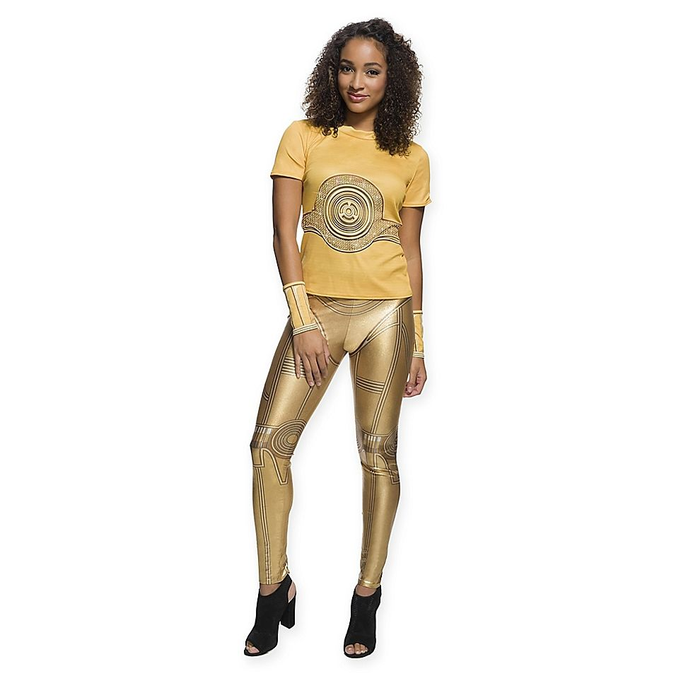 LICENSED C3PO DROID RHINSTONE T-SHIRT ADULT WOMENS STAR WARS HALLOWEEN COSTUME