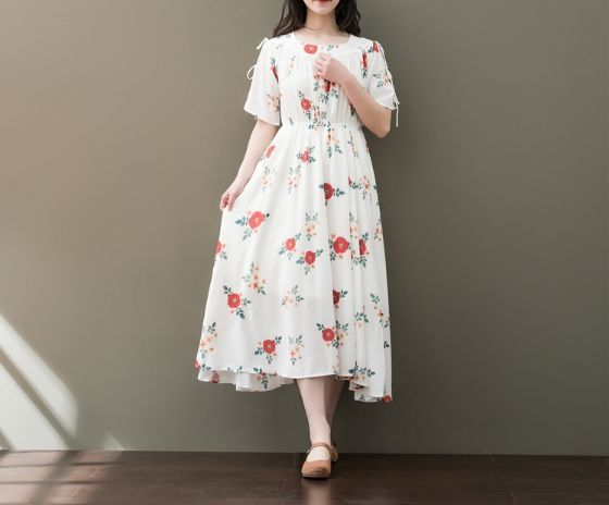 BUTTERFLY WITH FLORAL SHORT-SLEEVED CHIFFON PRINTING DRESS TIDE