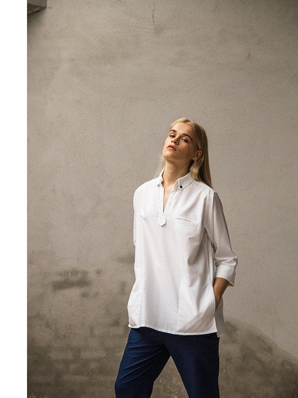Oxford white shirt with indigo light weight relaxed cargo pants.   Pluto - On the Moon