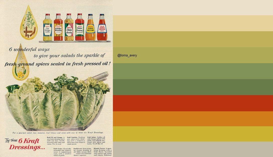 1958 Food Ad, Kraft Salad Dressings: original image ©Classic Film via http://www.flickr.com/photos/29069717@N02/15705591247/in/pool-kitschen/