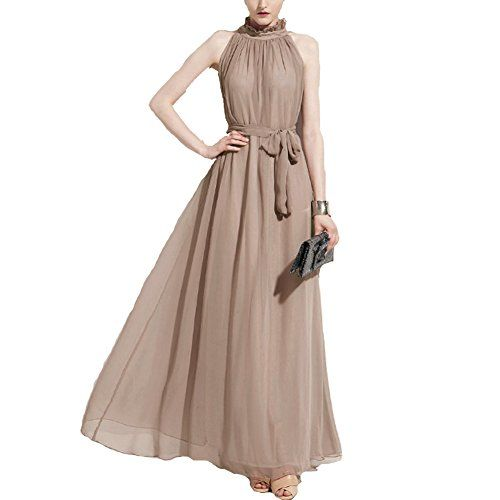 e109f86e625c Elegant Chiffon Maxi Dress Nymph Hang Neck Collar Free Size Khaki   Gender   Women Neckline Ruffled Sleeve Style Off the Shoulder Dresses  Length Floor-Length ...