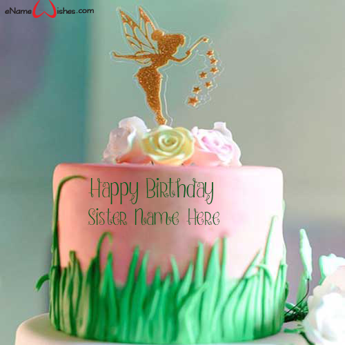 Write name on Fairy Themed Birthday Wish Name Cake with Name And