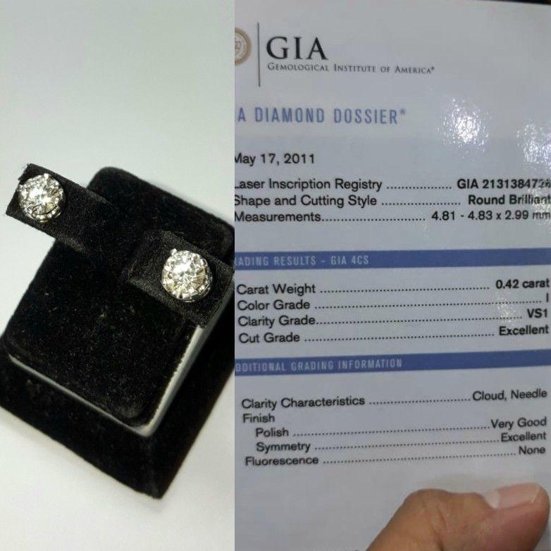 Giwang Emas Berlian Tunggal. | Berlian, Perhiasan emas, Emas