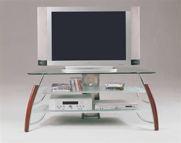 Martini Cherry Wood Chrome Metal Glass Tv Stand Acme Furniture