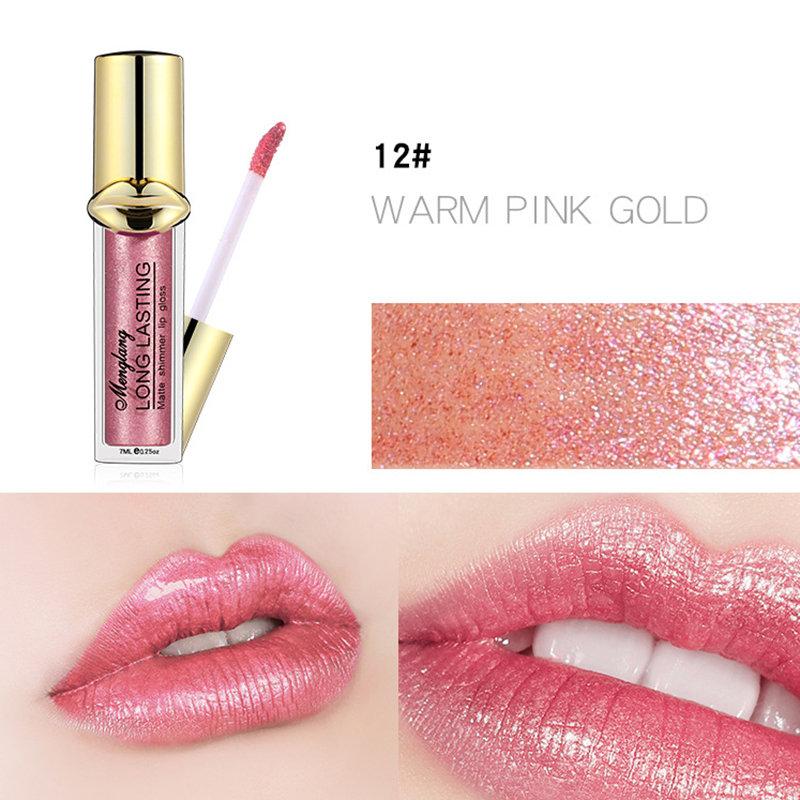 12 Colors Metallic Mist Shimmer Non stick Cup Lip Gloss