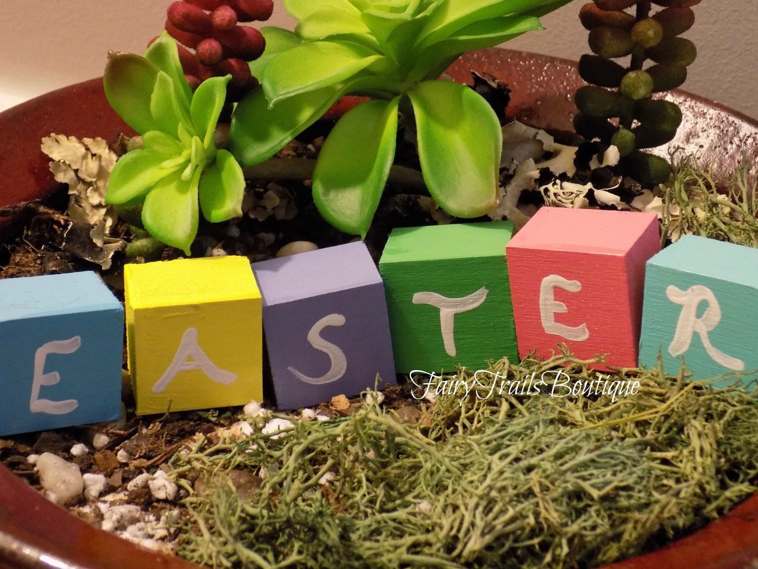 Pastel Easter Block Sign Easter Decorations Holiday Accessories DIY ...