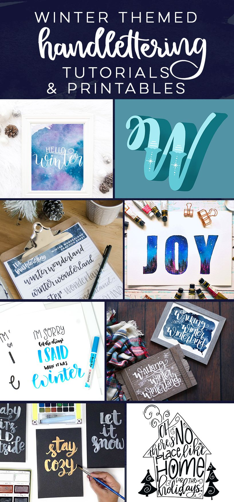 winter themed handlettering tutorials, practice sheets and ...