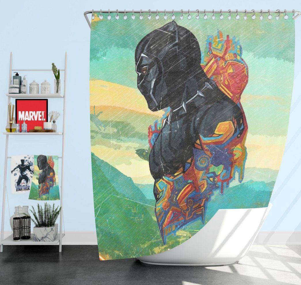 Black Panther T Challa King Of Wakanda Shower Curtain Superhero